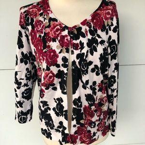 White House Black Market Floral Cardigan Sz L